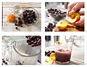 How to prepare blackberry and peach smoothie with mineral water