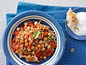 Oriental turkey chili with chick peas and tomatoes