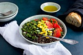 Roasted Poblano Quinoa topped with Corn, Tomatoes and Cilantro, served with Olive Oil and Bread