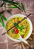 Geng Gari Gai (Thai ramen noodles with yellow chicken curry)