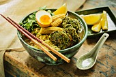Japanese ramen soup with seaweed and chicken