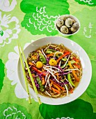 Japanese ramen soup with colourful vegetables and quail eggs