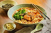 Japenese sweet chilli ramen soup with salmon