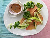 Grapefruit and avocado salad with a spiced dressing