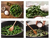 How to prepare pan-fried mini green peppers with olive oil and sea salt