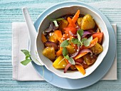 Stir-fried vegetables with pineapple and Thai basil (Asia)