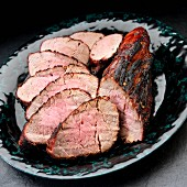Sliced grilled fillet of pork with a brown sugar and soy sauce glaze