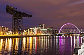 The River Clyde by night at Glasgow Harbour, Scotland