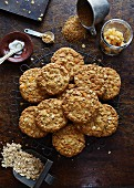 Ginger and oat biscuits with ingredients