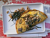 Onion omelette with crispy chilli flakes and nori seaweed