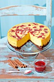 Pumpkin cheesecake with plum sauce