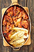 Baked barbecue chicken wings with chicory