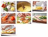How to prepare polenta pizza with pesto, tomato and mozzarella