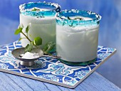 Turkish yoghurt drinks with mint