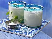 Turkish yoghurt drinks with mint