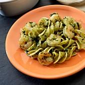 Rotini pasta with prawns and pesto