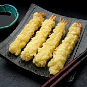 Four prawn tempura on a serving dish (Japan)