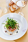 Tuna with rocket and beans at the Comptoir du Marché restaurant in Nice, France
