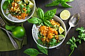 Prawns with rice noodles, sweetcorn and basil