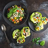 White bean salad in lettuce cups