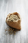A wild rice mixture in a jute sack