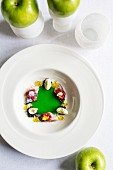 Cucumber gazpacho with mackerel and goats' cheese at the 'Taberna del Alabardero' restaurant in Seville, Andalusia, Spain
