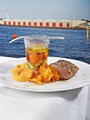 Fillet of pork with pickles and sweet potato purée