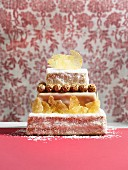 A festive three-tier pineapple cake