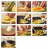 Scharfe Glasnudeln mit Gemüse mit Ananas und Erdnüssen (Asien) zubereiten