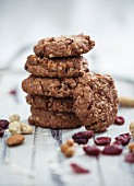 Vegan muesli biscuits with cranberries, nuts and porridge oats