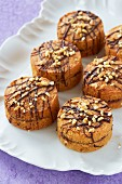 Mini sponge cakes with chocolate and hazelnuts