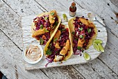 Fish tacos with red cabbage