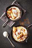 Porridge with caramelised pears, pecan nuts, and vanilla yoghurt