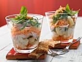 Layered cauliflower salad with turkey breast ham