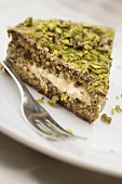 A cake with a pistachio crust from the Bronte region of Sicily, Italy