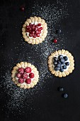 Three different berry tartlets dusted with icing sugar (seen from above)