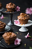 Chocolate cupcakes with a caramel topping