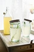 Lemonade in screw-top jars with straws