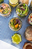 A picnic with pickled vegetables and bread
