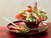 Prawn and vegetable salad with mustard dressing