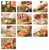 Bulgur-Melonen-Salat mit Minz-Tsatsiki zubereiten