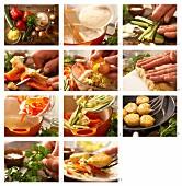 Griesstaler mit Paprika- Zucchinigemüse zubereiten