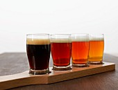 Beer in an assortment of glasses