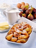 Frittelle (Italian doughnuts) with figs