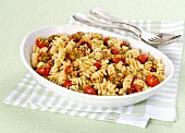 Fusilli with gratinated cherry tomatoes
