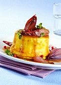 Parmesan flan with red pepper