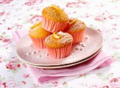 Lemon and vanilla cupcakes with sugar