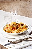 Pappardelle with porcini mushrooms, prawns and chilli peppers