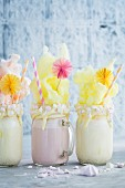 Candyfloss freak shakes with strawberry and vanilla