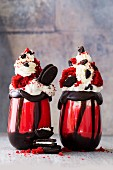 Red velvet freak shakes with Oreo biscuits